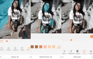 menina morena sendo editada em um aplicativo de cores.