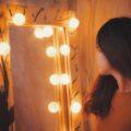 person in mirror