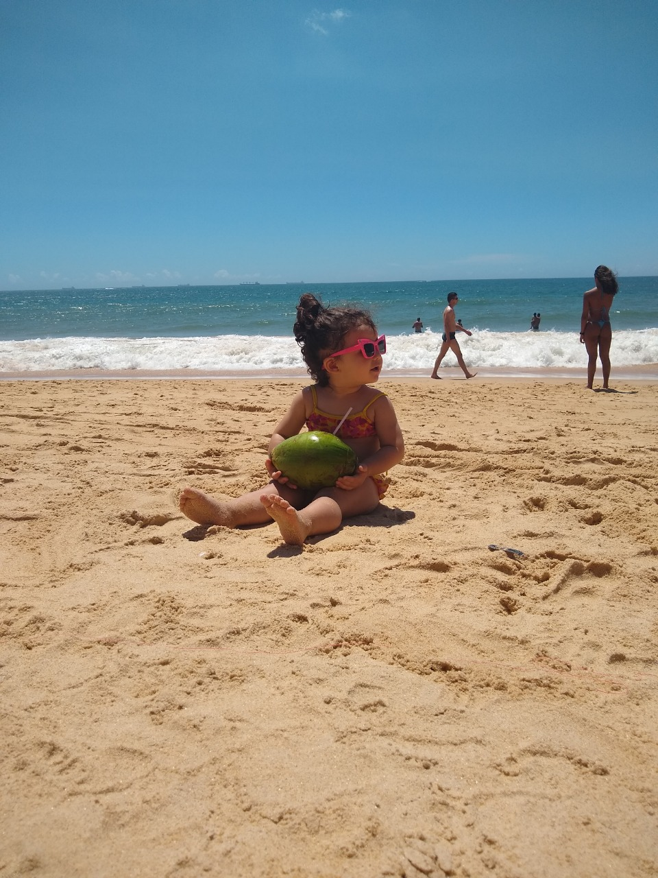 baby girl beach sunny day