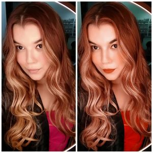 make girl red hair beauty before after