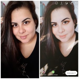 antes e depois de uma edição para stories