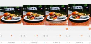 Montagem com 4 fotos do hambúrguer em cima de um prato branco com batatas fritas de acompanhamento usando a ferramenta Alongar do AirBrush.