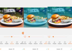 Montagem com 3 fotos do hambúrguer em cima de um prato branco com batatas fritas de acompanhamento usando a ferramenta Bokeh do AirBrush.