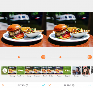 Montagem com 2 fotos do hambúrguer em cima de um prato branco com batatas fritas de acompanhamento usando a ferramenta Filtros do AirBrush.