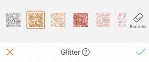sección de Glitter de AirBrush App