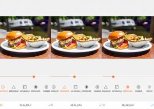 Montagem com 3 fotos do hambúrguer em cima de um prato branco com batatas fritas de acompanhamento usando a ferramenta Realçar do AirBrush.