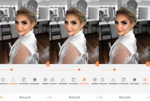 foto de uma mulher loira vestida de noiva  sendo editada pelo AirBrush