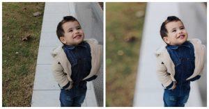 antes e depois da foto de uma criança sendo que uma das fotos o fundo está desfocado