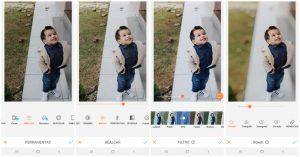 foto de uma criança sendo editada pelo AirBrush