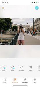 Montagem da foto do homem tirando uma foto usando a ferramenta Bokeh do AirBrush