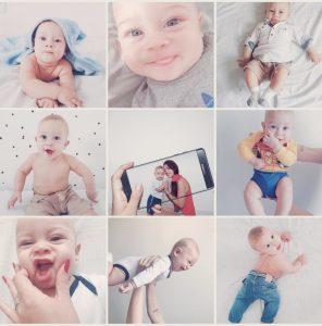 Print do feed do instagram com várias fotos de um bebê usando o filtro Sweet do AirBrush