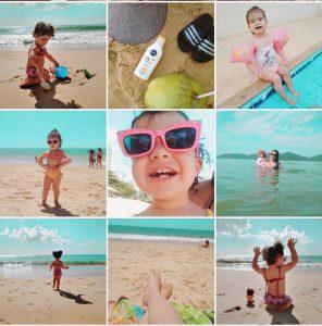 Print do feed do instagram com várias fotos de um bebê usando o filtro Clean do AirBrush