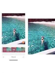 antes e depois da foto de uma mulher nadando no mar sendo que uma das fotos está sendo utilizado o filtro Vision do AirBrush
