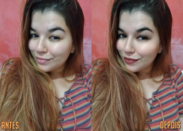 antes e depois da foto de uma mulher loira sendo que em uma foto ela tá sem batom e na outra está com batom
