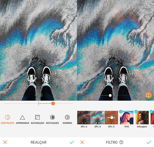 Tutorial de edição de uma foto tirada do pé calçando um tênis usando a ferramenta Realçar e Filtros do AirBrush