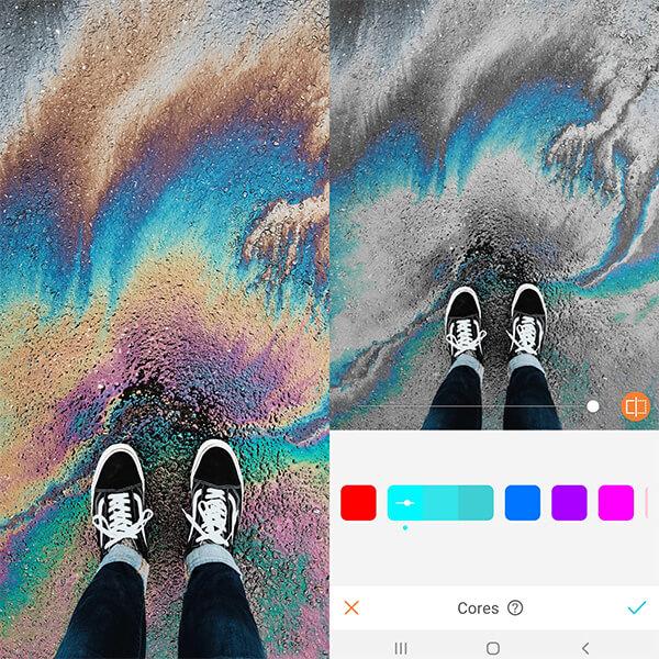 Tutorial de edição de uma foto tirada do pé calçando um tênis usando a ferramenta Cores do AirBrush