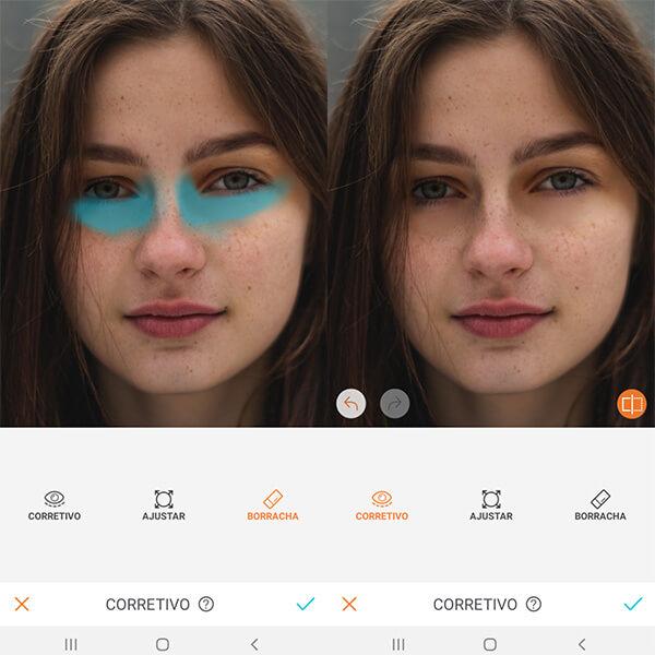 Montagem com 2 fotos de uma mulher com sardas mostrando como usar a ferramenta Corretivo do AirBrush.