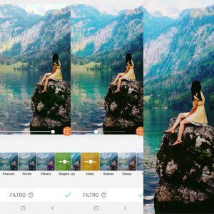 Montagem mostrando como editar uma foto de natureza usando as ferramentas do AirBrush