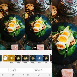 Montagem mostrando como editar a foto de comida usando as ferramentas do AirBrush