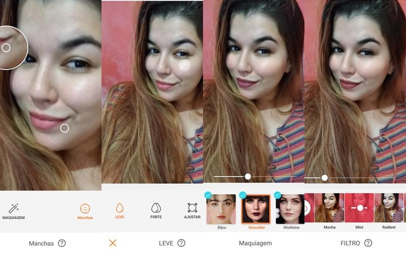 tutorial da foto de uma mulher loira ensinando como editar e acrescentar maquiagem