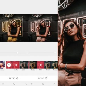 Montagem mostrando como editar uma foto usando as ferramentas do AirBrush