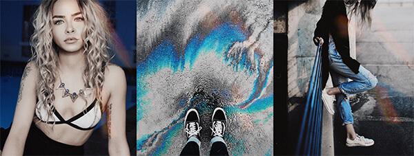 trio de fotos diversas com a cor azul predominante