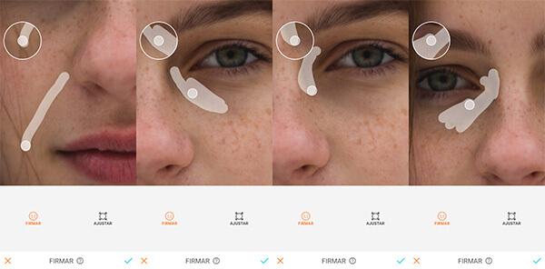 Montagem com 4 fotos de uma mulher com sardas mostrando como usar a ferramenta Firmar do AirBrush.