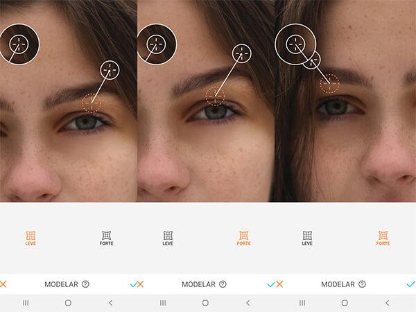 Montagem com 3 fotos de uma mulher com sardas mostrando como usar a ferramenta Modelar do AirBrush.