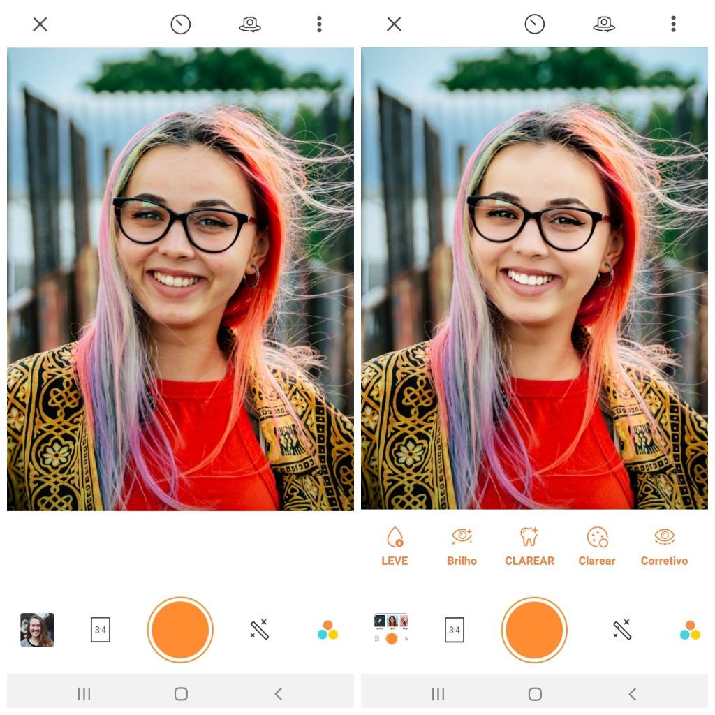 Tutorial de edição de uma foto de uma mulher branca sorrindo para a foto com cabelo colorido usando as ferramentas do AirBrush