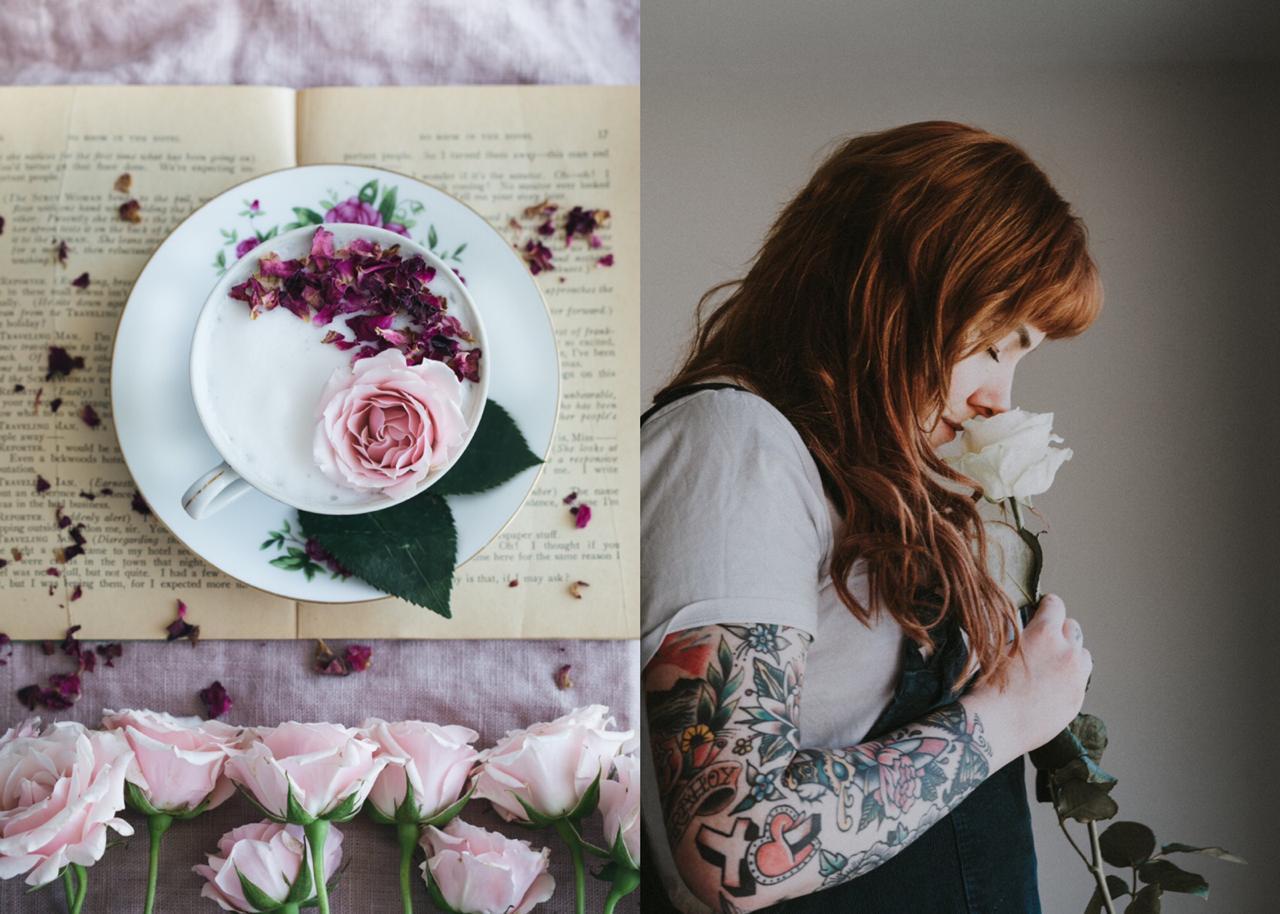 duas fotos com flores