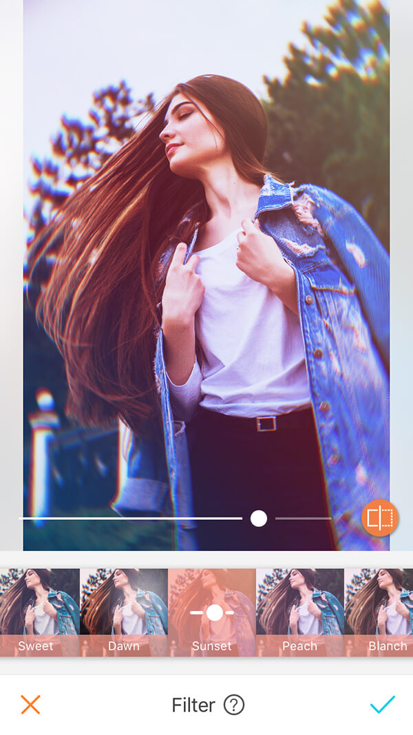 A picture of a brunette being edited with the Sunset Filter, by AirBrush