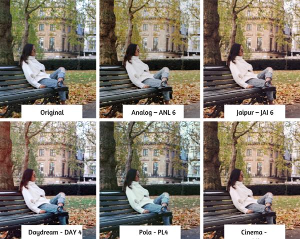 joven sentada en una banca en Londres durante otoño