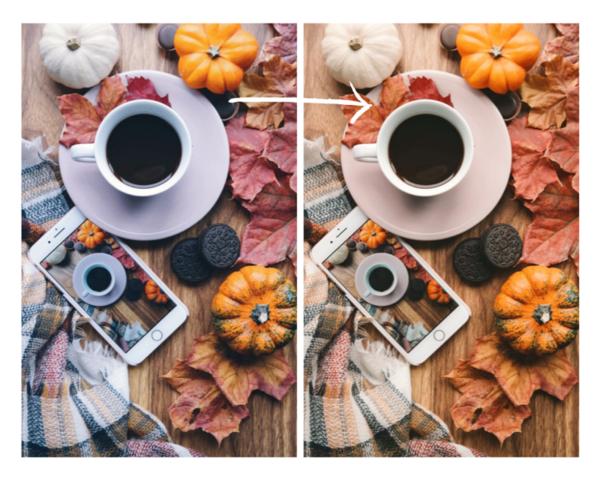 flatlay de otoño con una tasa de café