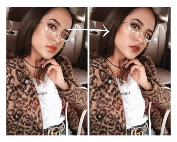 Edición de foto de mujer joven utilizando la herramienta Maquillaje