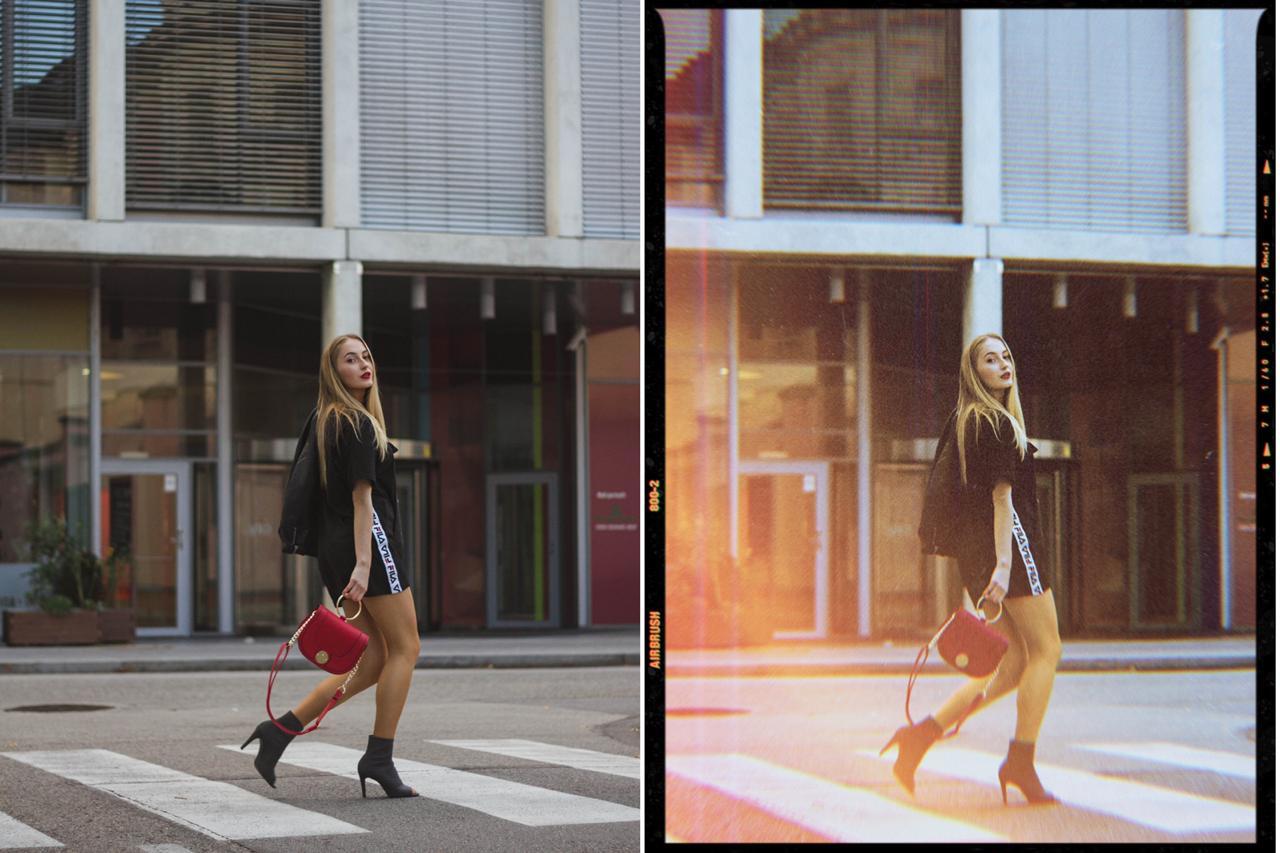 antes e depois de edição