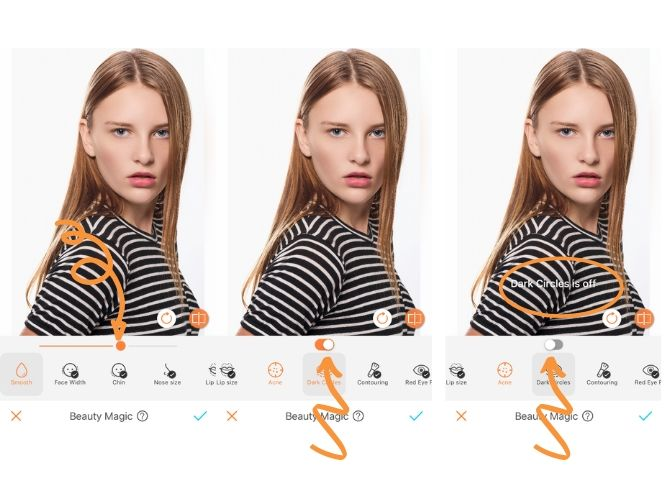 screenshot of a images of woman wearing a black and white striped top in front of a white background