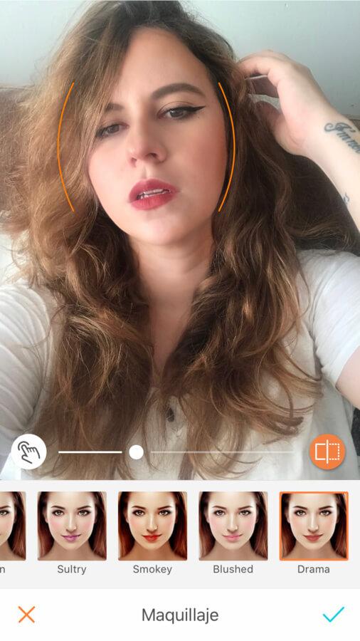 edición de foto de retrato de mujer usando la herramienta Maquillaje