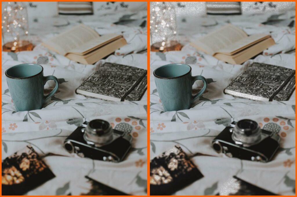 antes e depois glitter em objeto