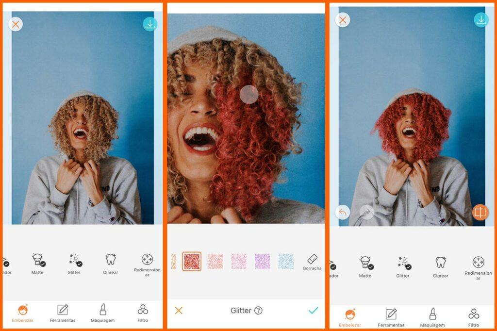 tutorial ferramenta glitter retrato