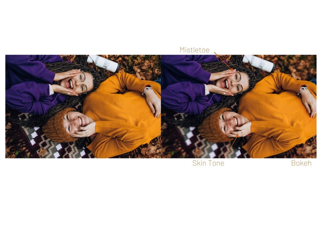 overhead photo of two laughing women