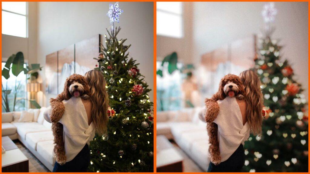 antes e depois de uma edição de natal
