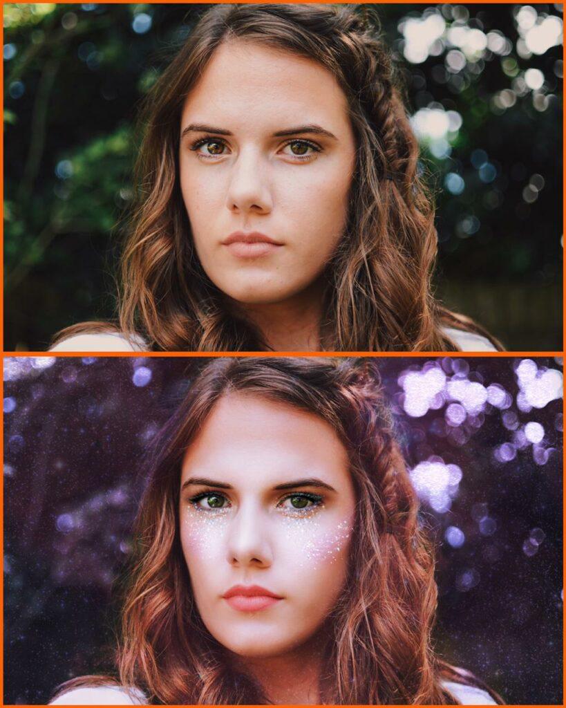 antes e depois foto artistica com airbrush
