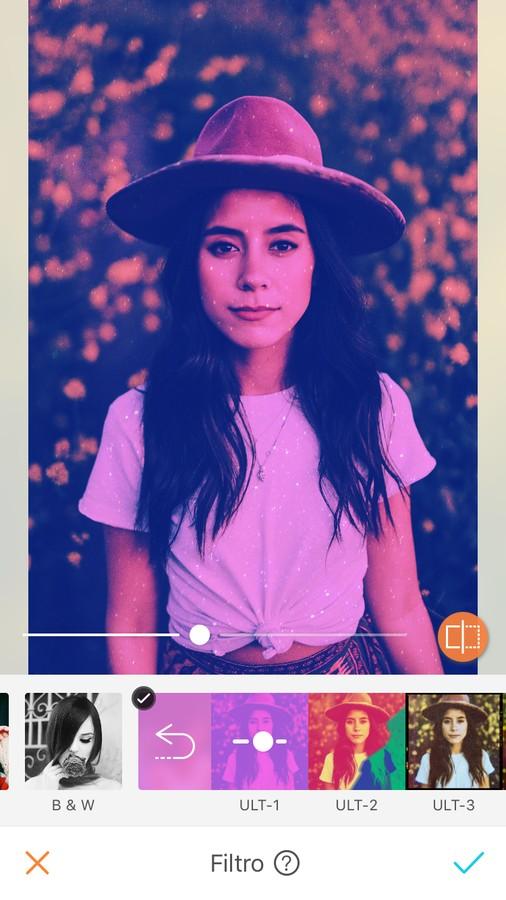 edición de foto de mujer con sombrero y playera blanca, aplicando un filtro morado