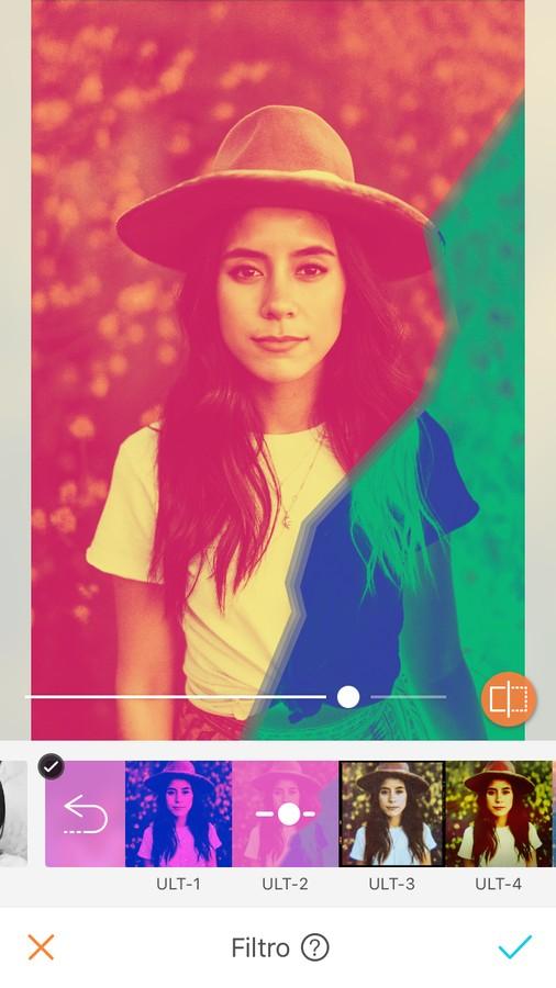 edición de foto de mujer con sombrero y playera blanca, aplicando filtro de colores, estilo Pop