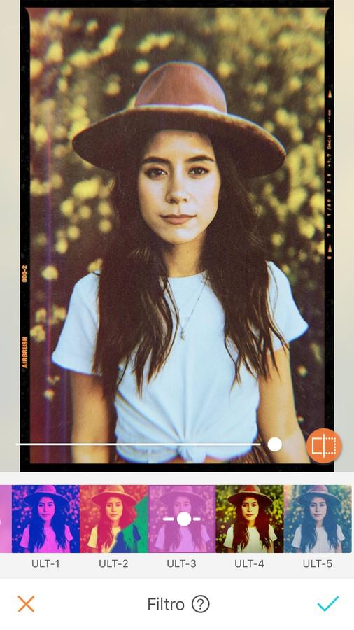 edición de foto de mujer con sombrero y playera blanca, aplicando filtro de estilo foto analógica