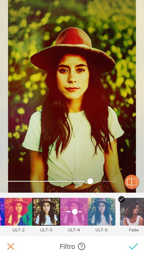 edición de foto de mujer con sombrero y playera blanca, aplicando filtro UltraPop
