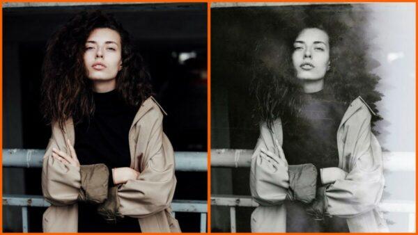 Montagem com 2 fotos de uma mulher com braços cruzados mostrando o antes e depois ao usar o filtro Timber