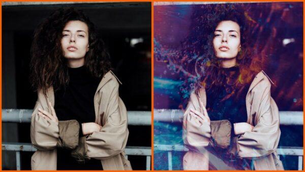 Montagem com 2 fotos de uma mulher com braços cruzados mostrando o antes e depois ao usar o filtro Mirage