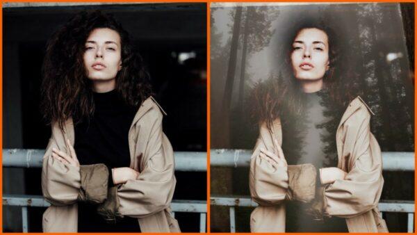 Montagem com 2 fotos de uma mulher com braços cruzados mostrando o antes e depois ao usar o filtro Redwood