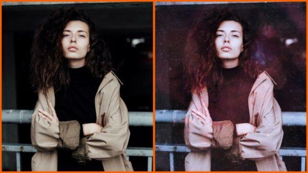 Montagem com 2 fotos de uma mulher com braços cruzados mostrando o antes e depois ao usar o filtro Galaxy